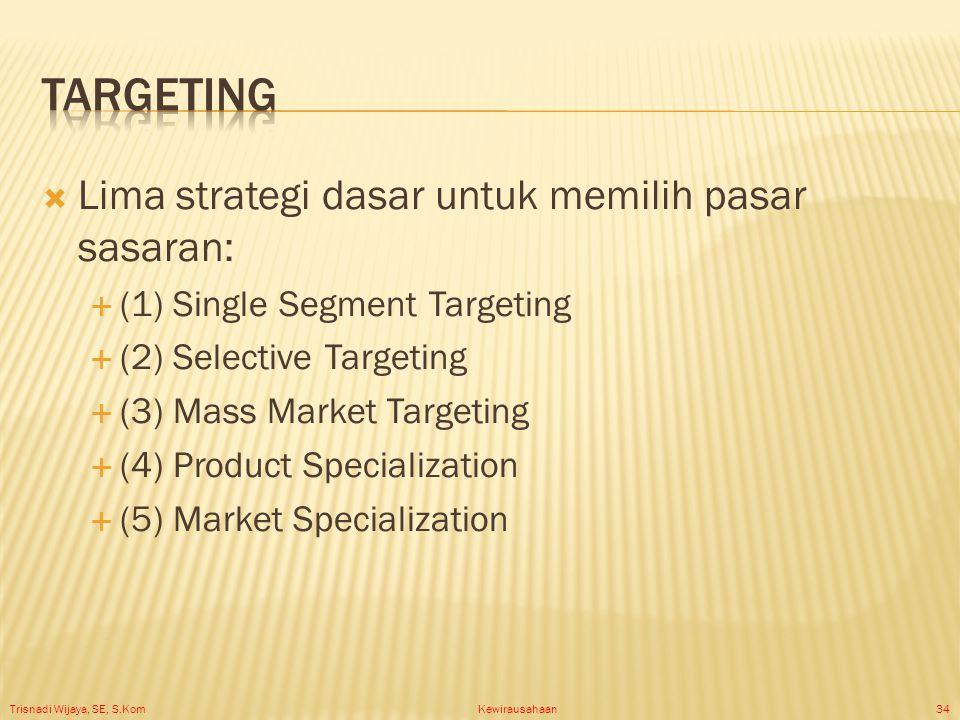 Trisnadi Wijaya, SE, S.Kom Kewirausahaan34  Lima strategi dasar untuk memilih pasar sasaran:  (1) Single Segment Targeting  (2) Selective Targeting  (3) Mass Market Targeting  (4) Product Specialization  (5) Market Specialization