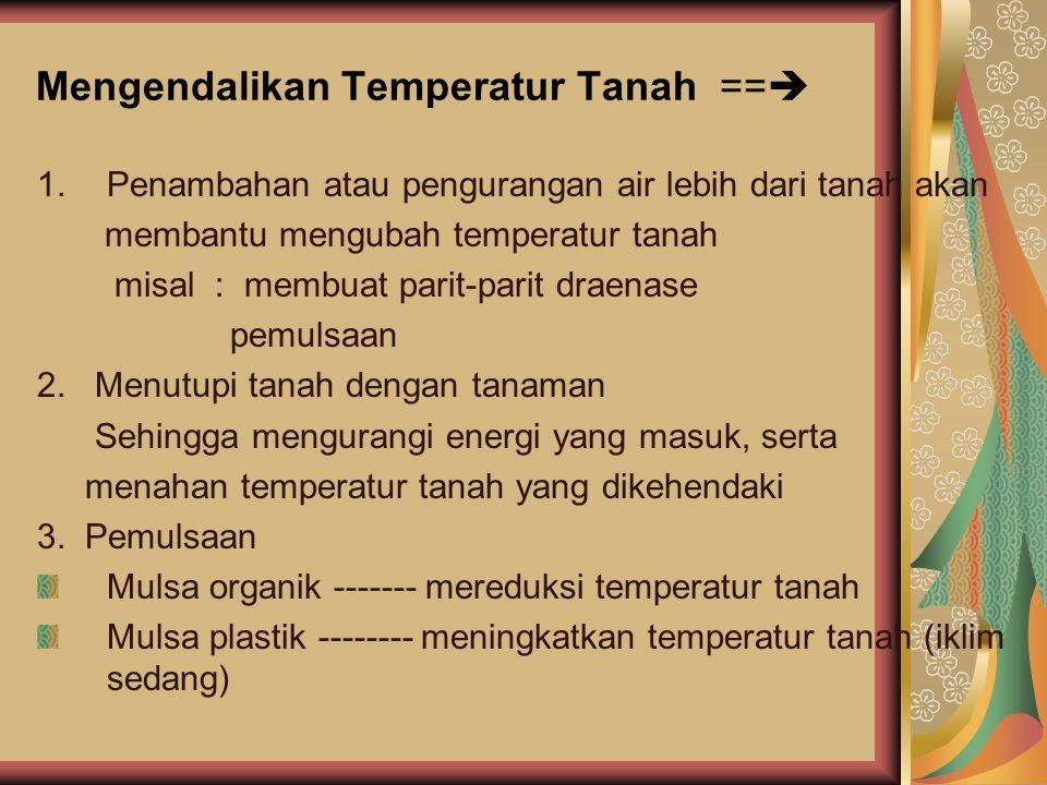 Mengendalikan Temperatur Tanah ==  1.Penambahan atau pengurangan air lebih dari tanah akan membantu mengubah temperatur tanah misal : membuat parit-parit draenase pemulsaan 2.
