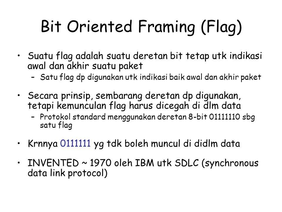 Bit Oriented Framing (Flag) Suatu flag adalah suatu deretan bit tetap utk indikasi awal dan akhir suatu paket –Satu flag dp digunakan utk indikasi bai