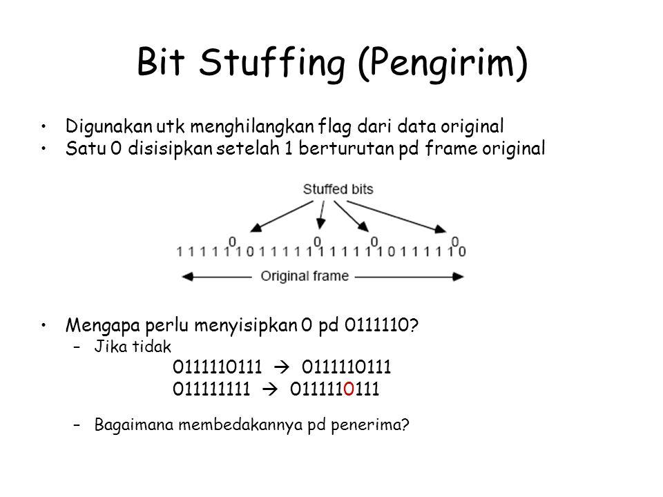 Bit Stuffing (Pengirim) Digunakan utk menghilangkan flag dari data original Satu 0 disisipkan setelah 1 berturutan pd frame original Mengapa perlu men