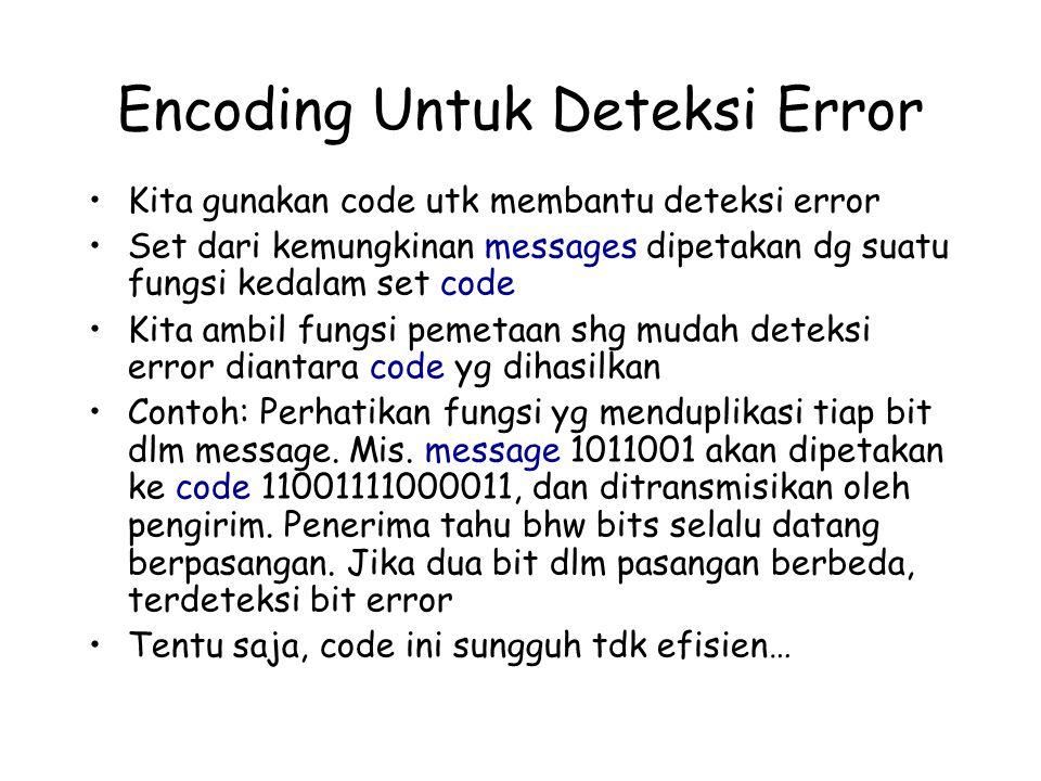 Encoding Untuk Deteksi Error Kita gunakan code utk membantu deteksi error Set dari kemungkinan messages dipetakan dg suatu fungsi kedalam set code Kit