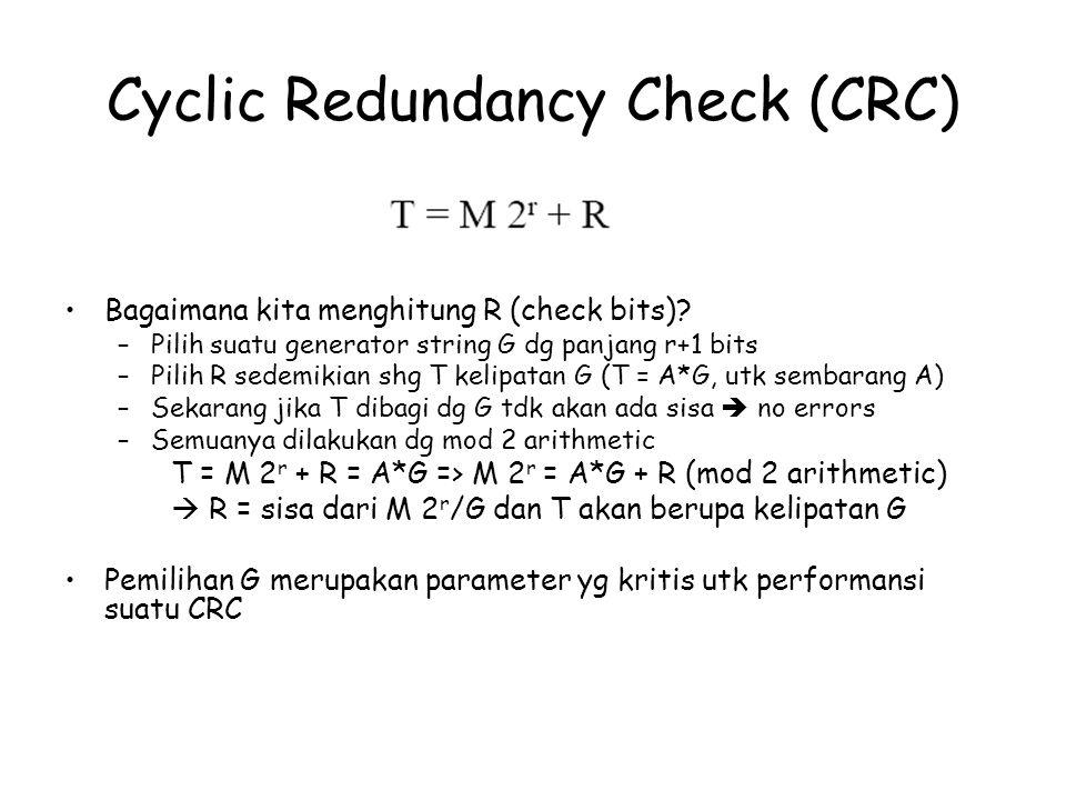 Bagaimana kita menghitung R (check bits)? –Pilih suatu generator string G dg panjang r+1 bits –Pilih R sedemikian shg T kelipatan G (T = A*G, utk semb