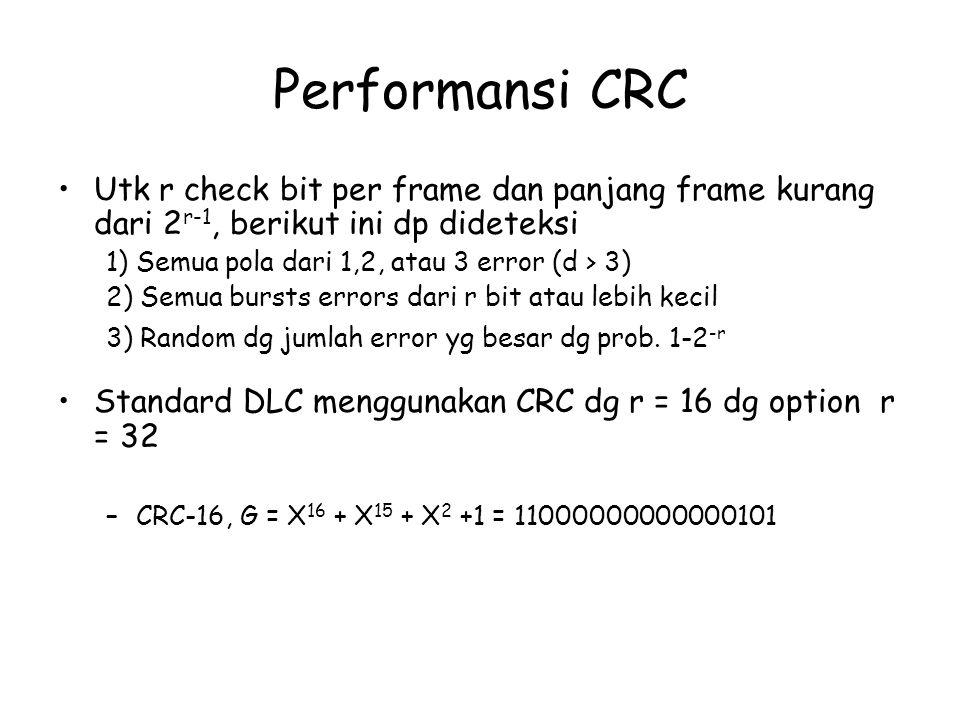 Performansi CRC Utk r check bit per frame dan panjang frame kurang dari 2 r-1, berikut ini dp dideteksi 1) Semua pola dari 1,2, atau 3 error (d > 3) 2