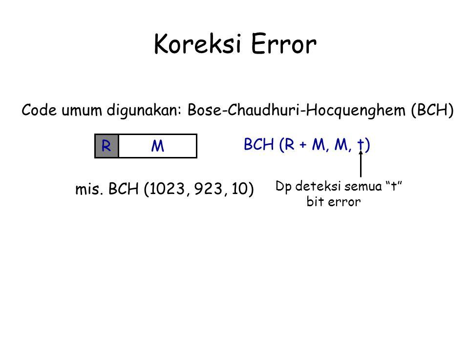 "Koreksi Error Code umum digunakan: Bose-Chaudhuri-Hocquenghem (BCH) MR BCH (R + M, M, t) mis. BCH (1023, 923, 10) Dp deteksi semua ""t"" bit error"