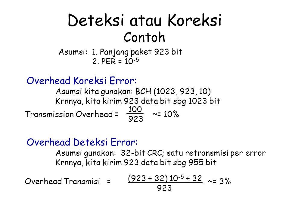 Deteksi atau Koreksi Contoh Asumsi: 1. Panjang paket 923 bit 2. PER = 10 -5 Overhead Koreksi Error: Asumsi kita gunakan: BCH (1023, 923, 10) Krnnya, k
