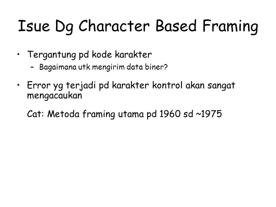 Pendekatan Panjang Field (DECNET) Menggunakan satu length field header utk memberikan info panjang frame (dlm bit atau byte) Panjang length field harus log 2 (Max_Size_Packet) + 1 bit –Ini membatasi ukuran paket yg akan digunakan Issue dg perhitungan panjang –Sulit recover dari error (tdk trsedia mekanismenya) –Resynchronization diperlukan setelah suatu error pd hitungan panjang