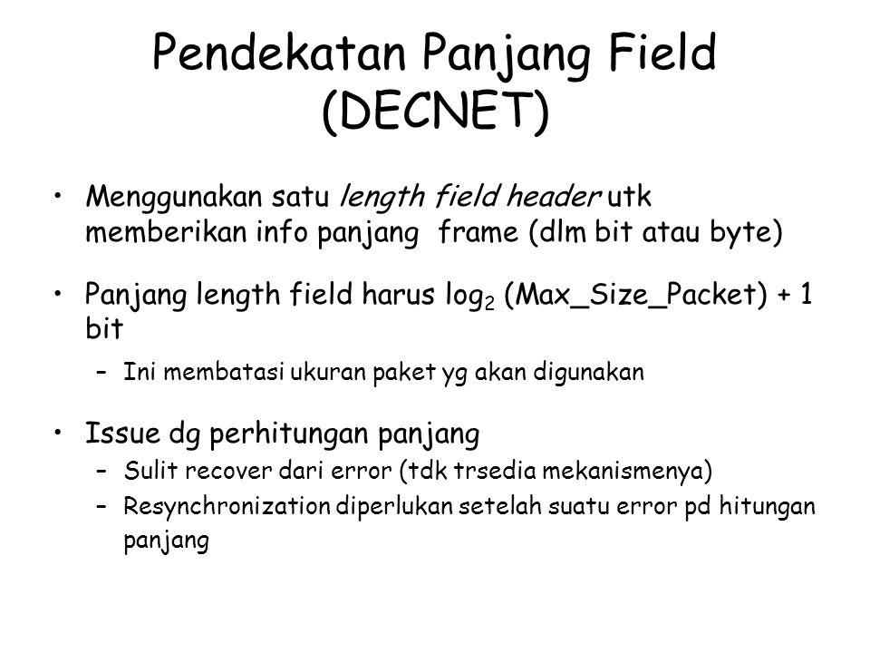 Pendekatan Panjang Field (DECNET) Menggunakan satu length field header utk memberikan info panjang frame (dlm bit atau byte) Panjang length field haru