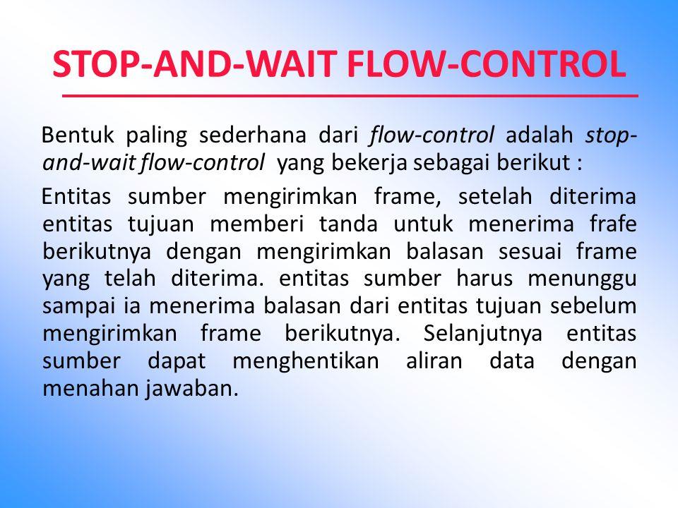 STOP-AND-WAIT FLOW-CONTROL Bentuk paling sederhana dari flow-control adalah stop- and-wait flow-control yang bekerja sebagai berikut : Entitas sumber