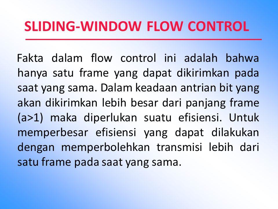 SLIDING-WINDOW FLOW CONTROL Fakta dalam flow control ini adalah bahwa hanya satu frame yang dapat dikirimkan pada saat yang sama. Dalam keadaan antria