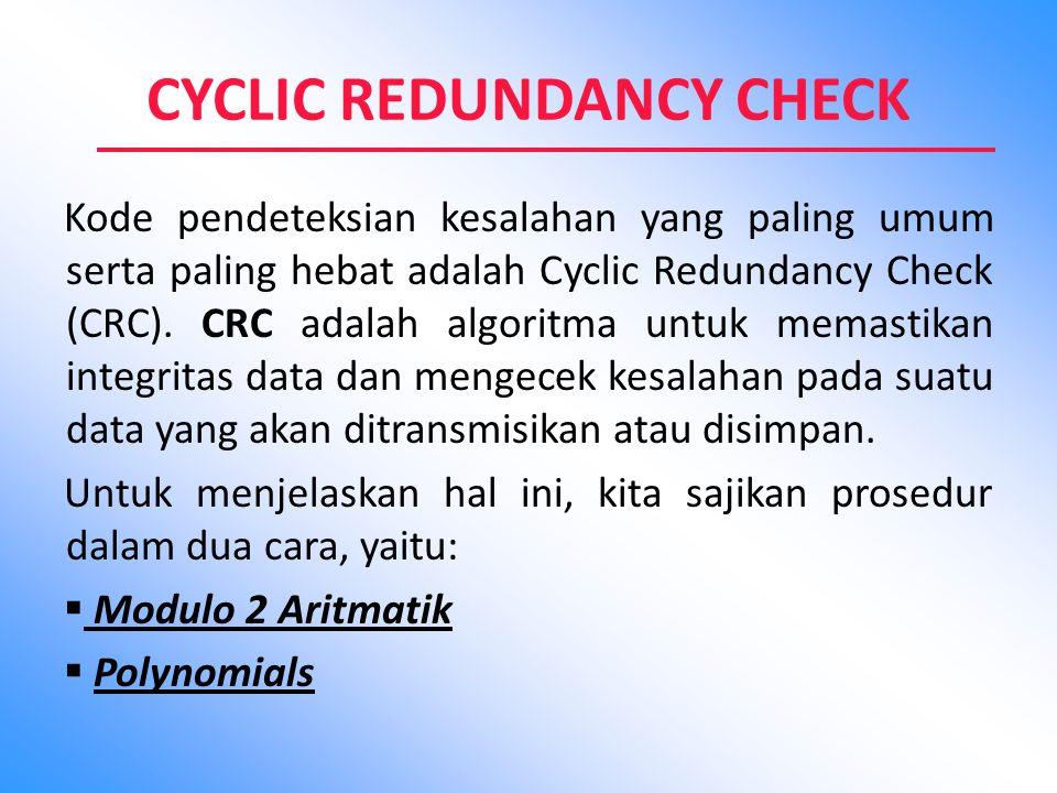 CYCLIC REDUNDANCY CHECK Kode pendeteksian kesalahan yang paling umum serta paling hebat adalah Cyclic Redundancy Check (CRC). CRC adalah algoritma unt