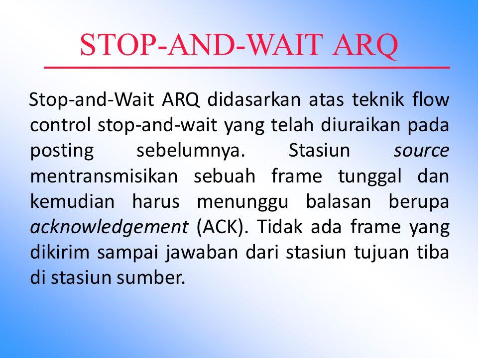 STOP-AND-WAIT ARQ Stop-and-Wait ARQ didasarkan atas teknik flow control stop-and-wait yang telah diuraikan pada posting sebelumnya. Stasiun source men