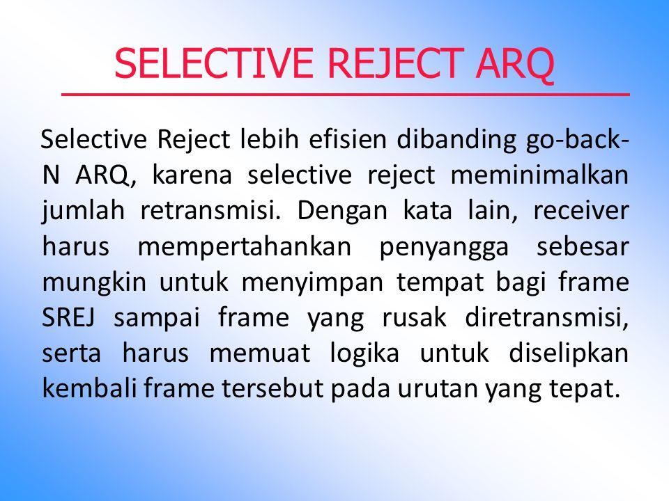 SELECTIVE REJECT ARQ Selective Reject lebih efisien dibanding go-back- N ARQ, karena selective reject meminimalkan jumlah retransmisi. Dengan kata lai