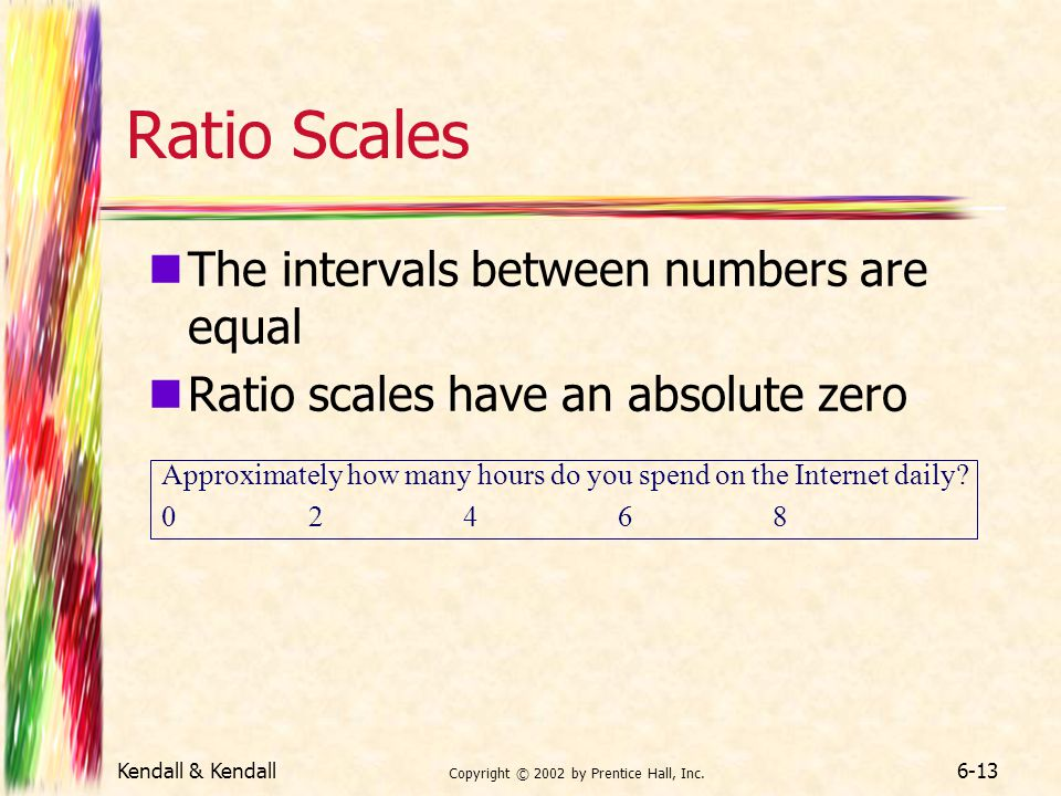 Kendall & Kendall Copyright © 2002 by Prentice Hall, Inc. 6-13 Ratio Scales The intervals between numbers are equal Ratio scales have an absolute zero