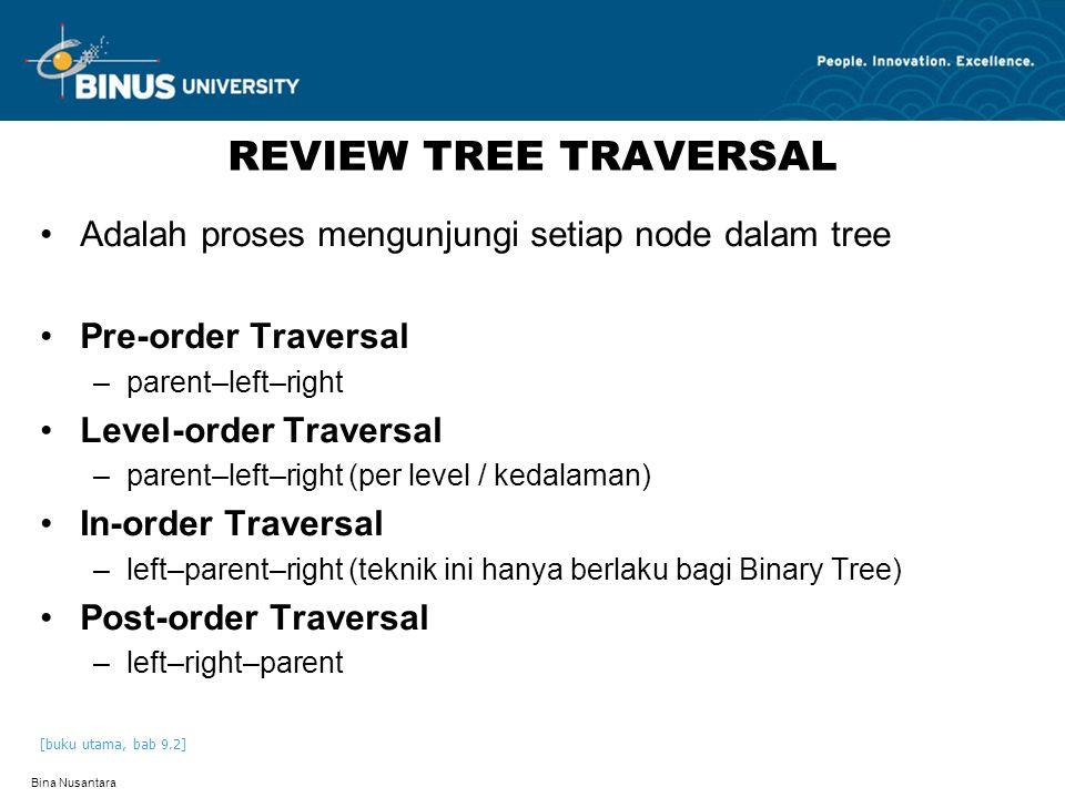 Bina Nusantara REVIEW TREE TRAVERSAL Adalah proses mengunjungi setiap node dalam tree Pre-order Traversal –parent–left–right Level-order Traversal –pa