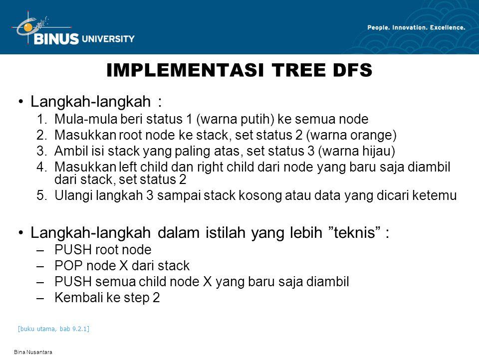 Bina Nusantara IMPLEMENTASI TREE DFS Langkah-langkah : 1.Mula-mula beri status 1 (warna putih) ke semua node 2.Masukkan root node ke stack, set status