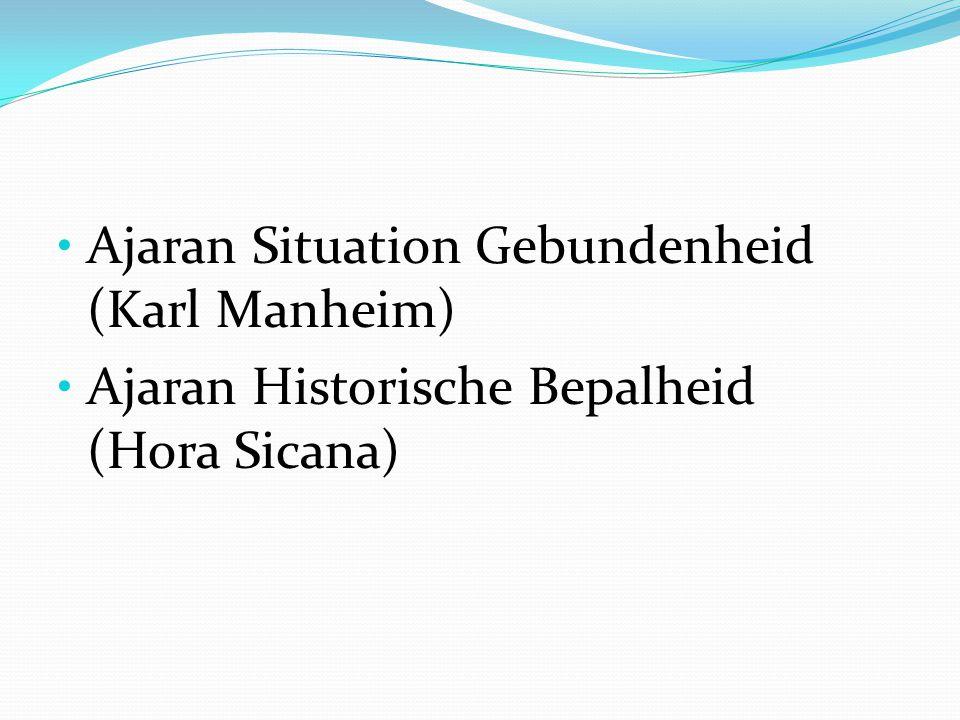 Ajaran Situation Gebundenheid (Karl Manheim) Ajaran Historische Bepalheid (Hora Sicana)