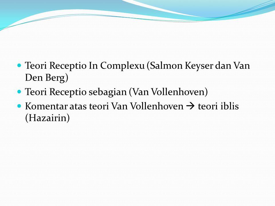 Teori Receptio In Complexu (Salmon Keyser dan Van Den Berg) Teori Receptio sebagian (Van Vollenhoven) Komentar atas teori Van Vollenhoven  teori ibli