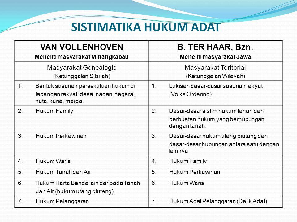 SISTIMATIKA HUKUM ADAT VAN VOLLENHOVEN Meneliti masyarakat Minangkabau B. TER HAAR, Bzn. Meneliti masyarakat Jawa Masyarakat Genealogis (Ketunggalan S
