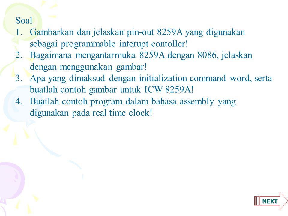 NEXT Soal 1.Gambarkan dan jelaskan pin-out 8259A yang digunakan sebagai programmable interupt contoller.