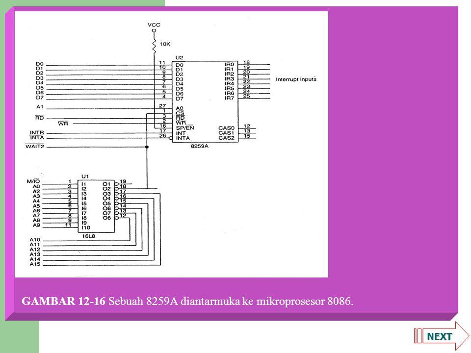 NEXT Cascading beberapa 8259A Gambar 12-17 memperlihatkan dua 8259A terhubung ke mikroprosesor 80386SX dengan cara yang biasa ditemukan pada komputer AT, yang memiliki dua 8259A untuk interupsi.