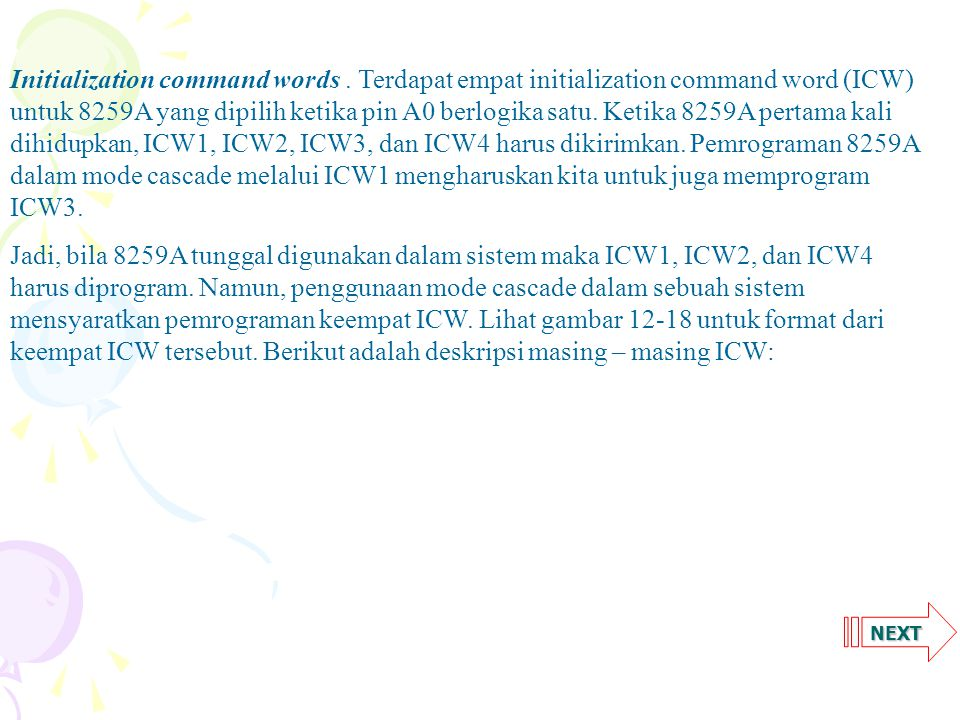 NEXT Initialization command words.