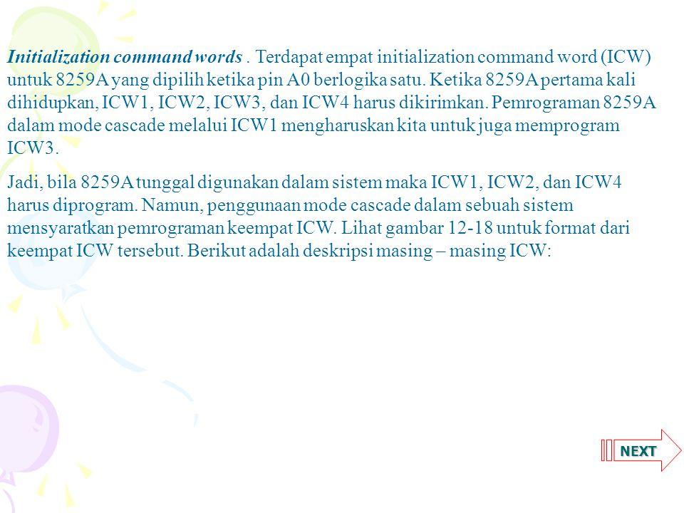 NEXT ICW1Memprogram operasi dasar 8259A.