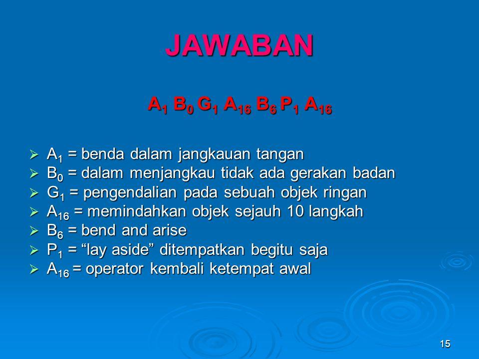 15 JAWABAN A 1 B 0 G 1 A 16 B 6 P 1 A 16  A 1 = benda dalam jangkauan tangan  B 0 = dalam menjangkau tidak ada gerakan badan  G 1 = pengendalian pa