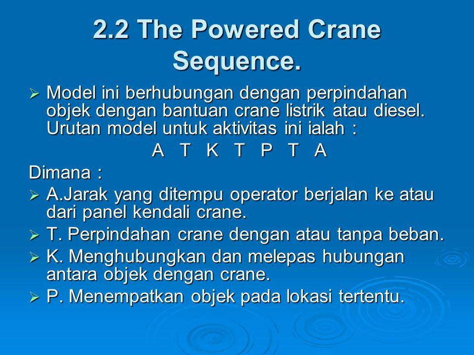 2.2 The Powered Crane Sequence.  Model ini berhubungan dengan perpindahan objek dengan bantuan crane listrik atau diesel. Urutan model untuk aktivita