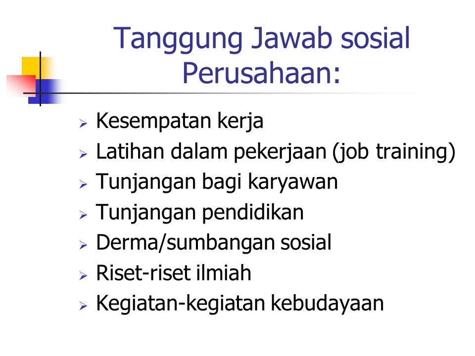 Tanggung Jawab sosial Perusahaan: KKesempatan kerja LLatihan dalam pekerjaan (job training) TTunjangan bagi karyawan TTunjangan pendidikan D