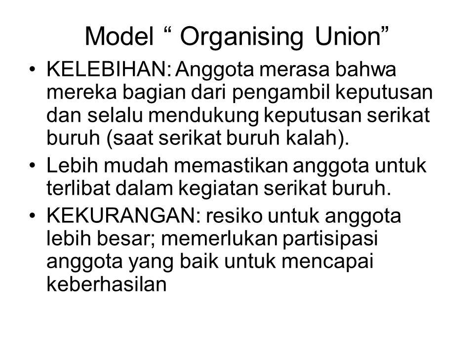 """Model """" Organising Union"""" KELEBIHAN: Anggota merasa bahwa mereka bagian dari pengambil keputusan dan selalu mendukung keputusan serikat buruh (saat se"""