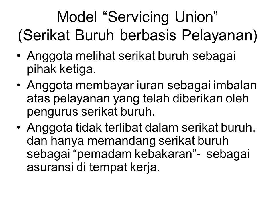 """Model """"Servicing Union"""" (Serikat Buruh berbasis Pelayanan) Anggota melihat serikat buruh sebagai pihak ketiga. Anggota membayar iuran sebagai imbalan"""