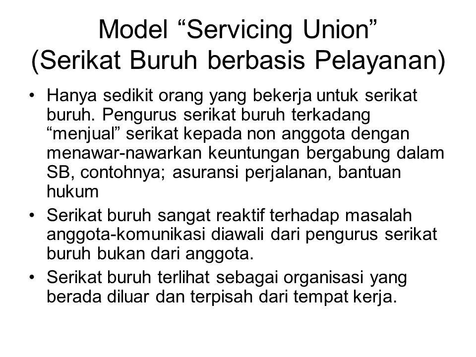 """Model """"Servicing Union"""" (Serikat Buruh berbasis Pelayanan) Hanya sedikit orang yang bekerja untuk serikat buruh. Pengurus serikat buruh terkadang """"men"""