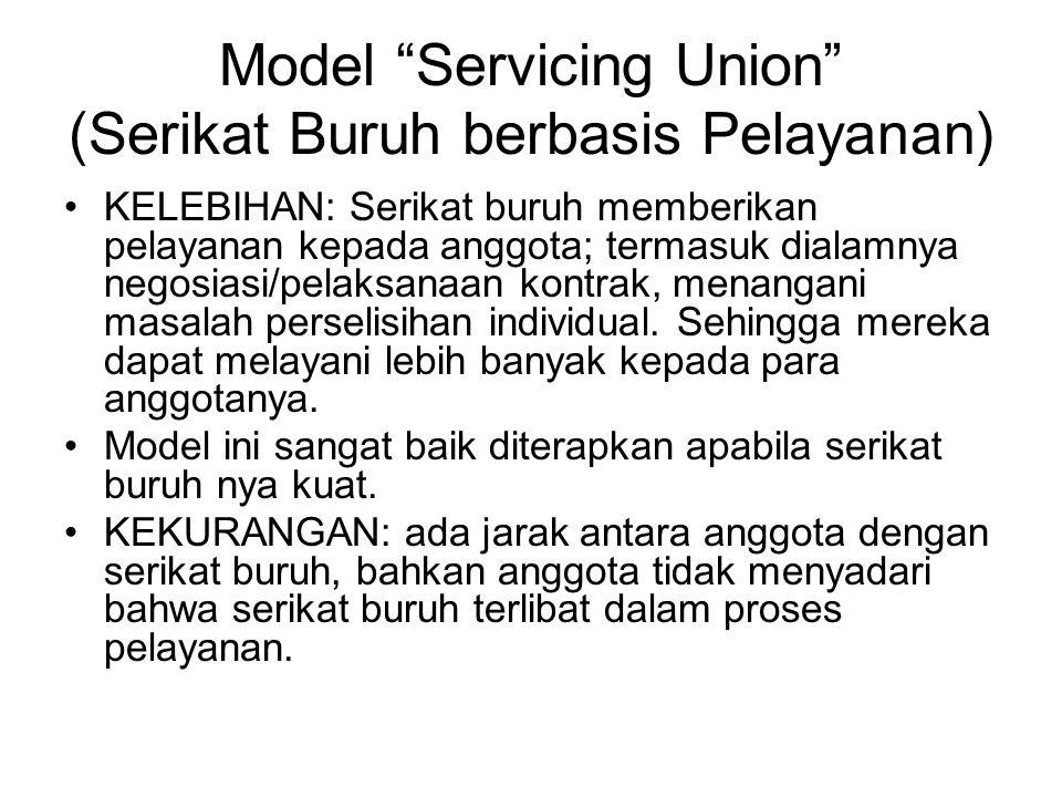 """Model """"Servicing Union"""" (Serikat Buruh berbasis Pelayanan) KELEBIHAN: Serikat buruh memberikan pelayanan kepada anggota; termasuk dialamnya negosiasi/"""