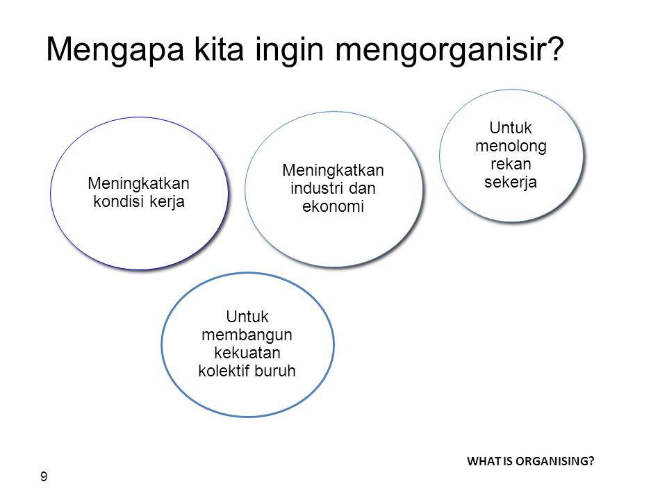 9 Mengapa kita ingin mengorganisir? Meningkatkan kondisi kerja Meningkatkan industri dan ekonomi Untuk menolong rekan sekerja Untuk membangun kekuatan