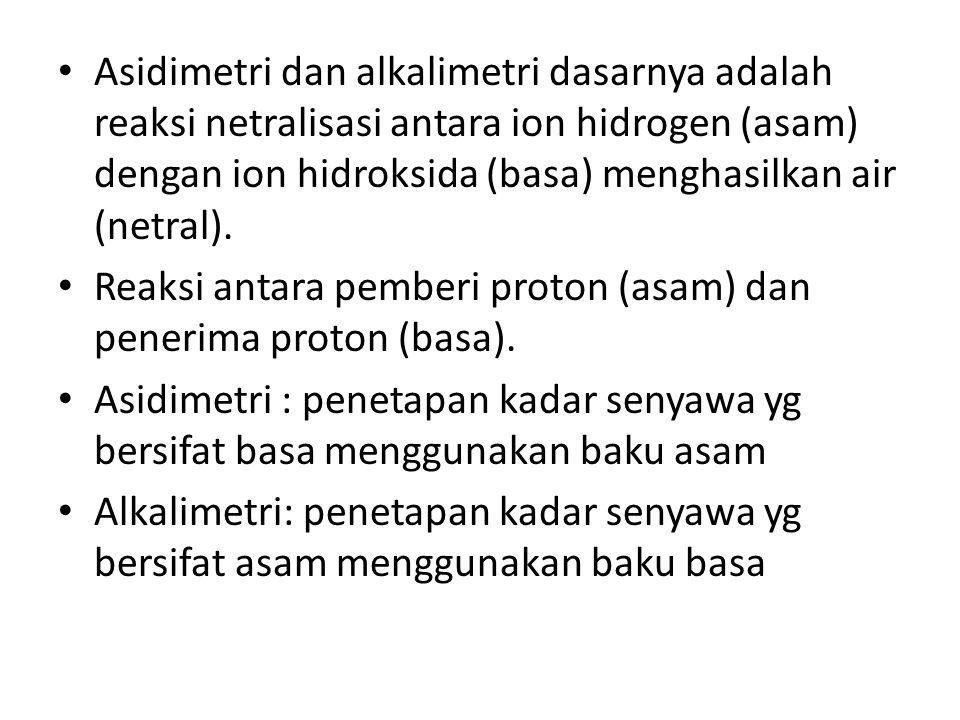 Asidimetri dan alkalimetri dasarnya adalah reaksi netralisasi antara ion hidrogen (asam) dengan ion hidroksida (basa) menghasilkan air (netral). Reaks