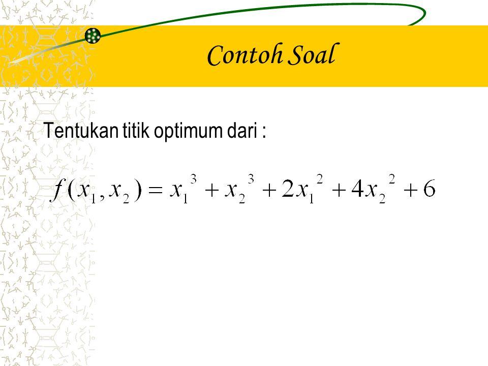 Jawaban Syarat perlu untuk titik optimum Jadi Persamaan ini dipenuhi melalui titik (0,0); (0,-8/3); (-4/3,0); (-4/3,-8/3)