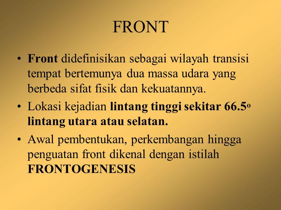 FRONT Front didefinisikan sebagai wilayah transisi tempat bertemunya dua massa udara yang berbeda sifat fisik dan kekuatannya. Lokasi kejadian lintang