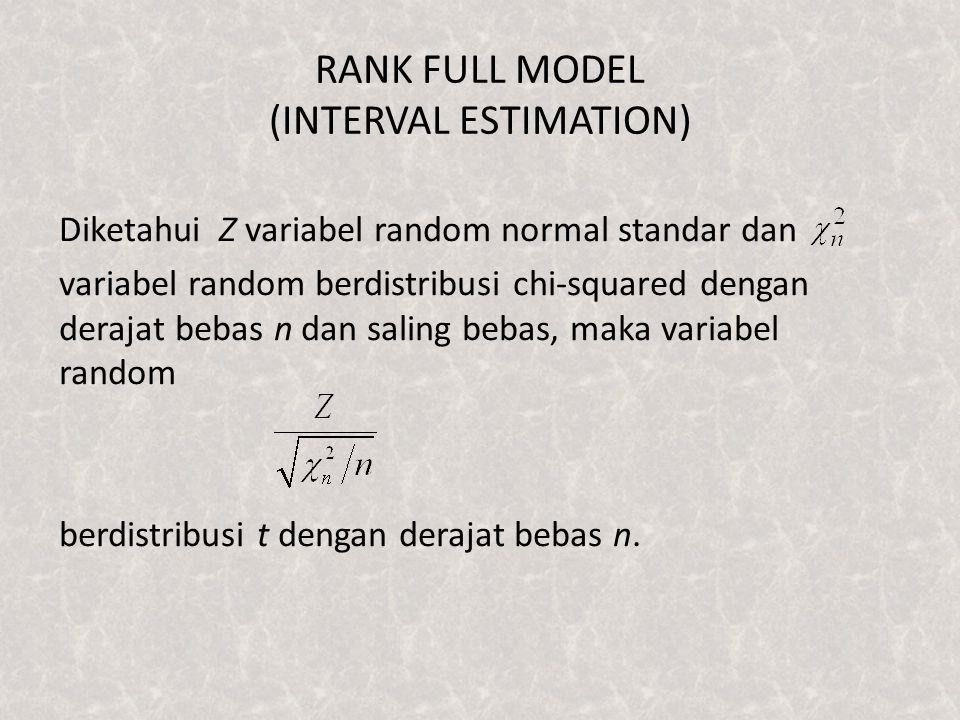 RANK FULL MODEL (INTERVAL ESTIMATION) Diketahui Z variabel random normal standar dan variabel random berdistribusi chi-squared dengan derajat bebas n dan saling bebas, maka variabel random berdistribusi t dengan derajat bebas n.