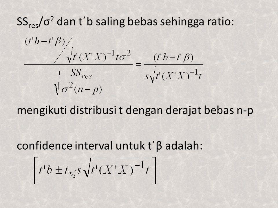 SS res /σ 2 dan t΄b saling bebas sehingga ratio: mengikuti distribusi t dengan derajat bebas n-p confidence interval untuk t΄β adalah: