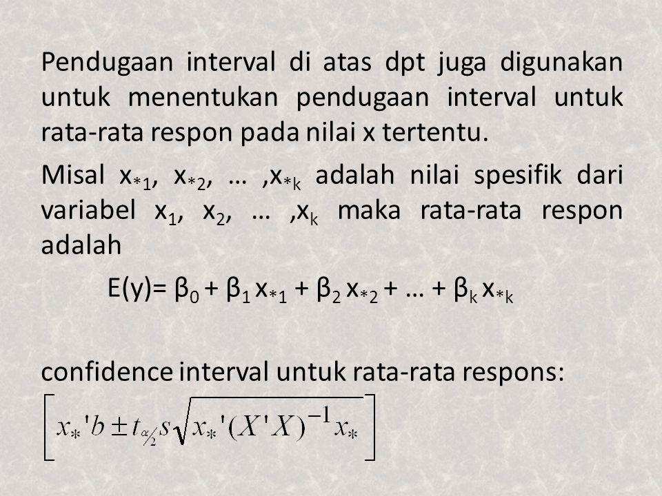 Pendugaan interval di atas dpt juga digunakan untuk menentukan pendugaan interval untuk rata-rata respon pada nilai x tertentu. Misal x *1, x *2, …,x
