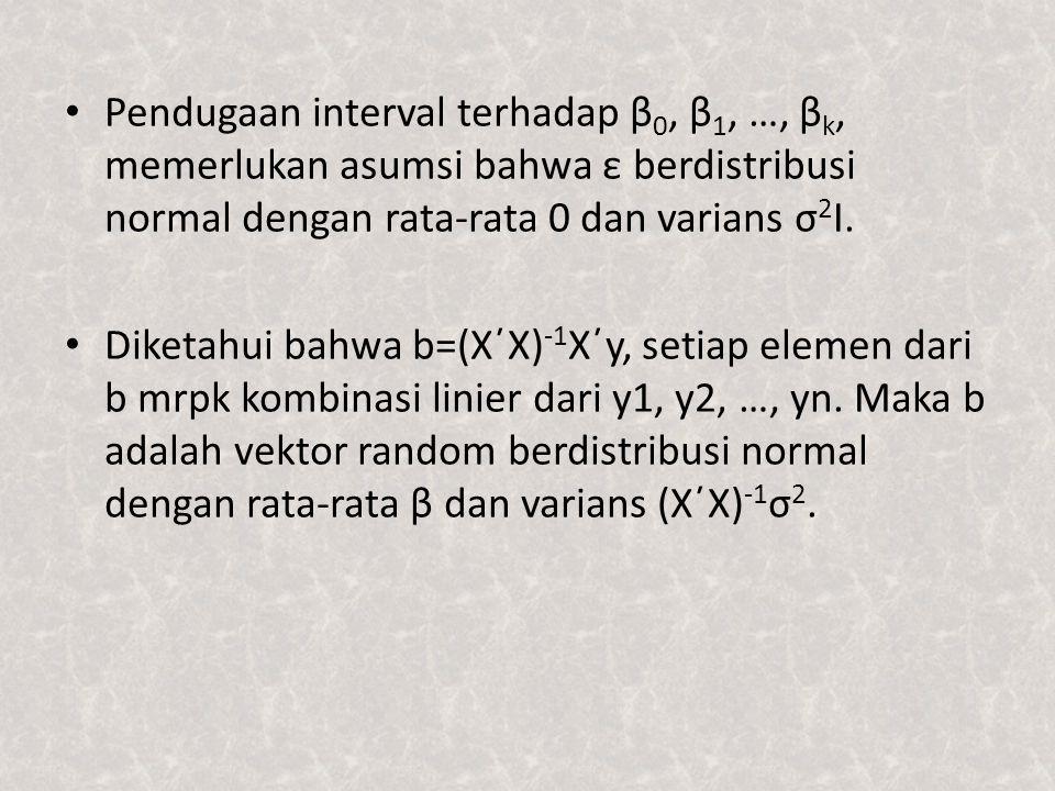 Pendugaan interval terhadap β 0, β 1, …, β k, memerlukan asumsi bahwa ε berdistribusi normal dengan rata-rata 0 dan varians σ 2 I. Diketahui bahwa b=(