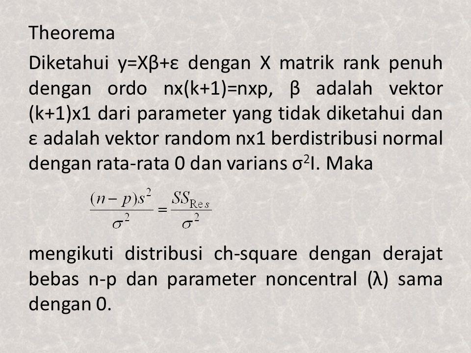 Theorema Diketahui y=Xβ+ε dengan X matrik rank penuh dengan ordo nx(k+1)=nxp, β adalah vektor (k+1)x1 dari parameter yang tidak diketahui dan ε adalah vektor random nx1 berdistribusi normal dengan rata-rata 0 dan varians σ 2 I.