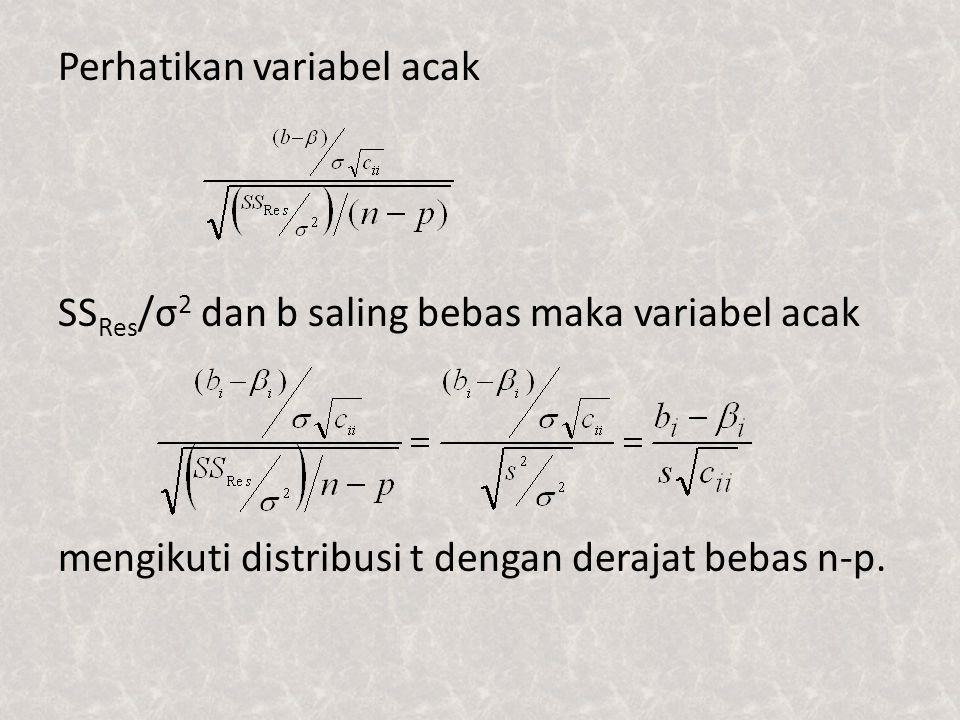 Perhatikan variabel acak SS Res /σ 2 dan b saling bebas maka variabel acak mengikuti distribusi t dengan derajat bebas n-p.