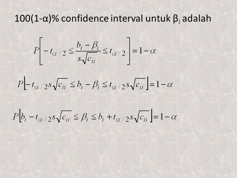Pendugaan Interval untuk fungsi linier β Fungsi linier dari β dpt dinyatakan sebagai t΄β dimana t΄ adalah vektor skalar dengan ukuran 1x(k+1).