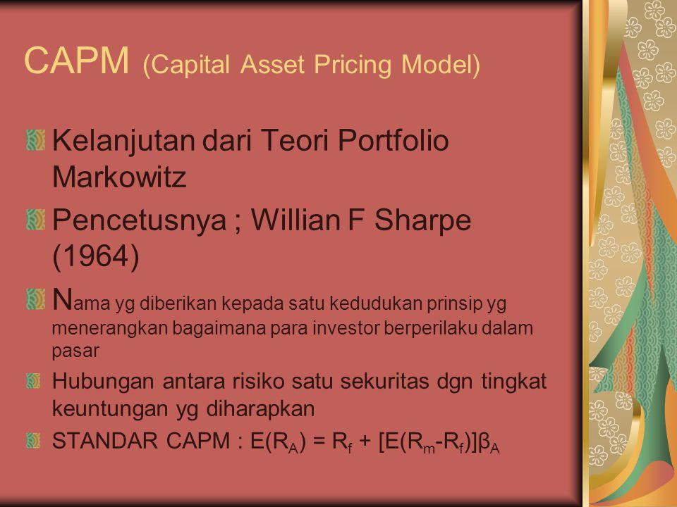 CAPM (Capital Asset Pricing Model) Kelanjutan dari Teori Portfolio Markowitz Pencetusnya ; Willian F Sharpe (1964) N ama yg diberikan kepada satu kedu