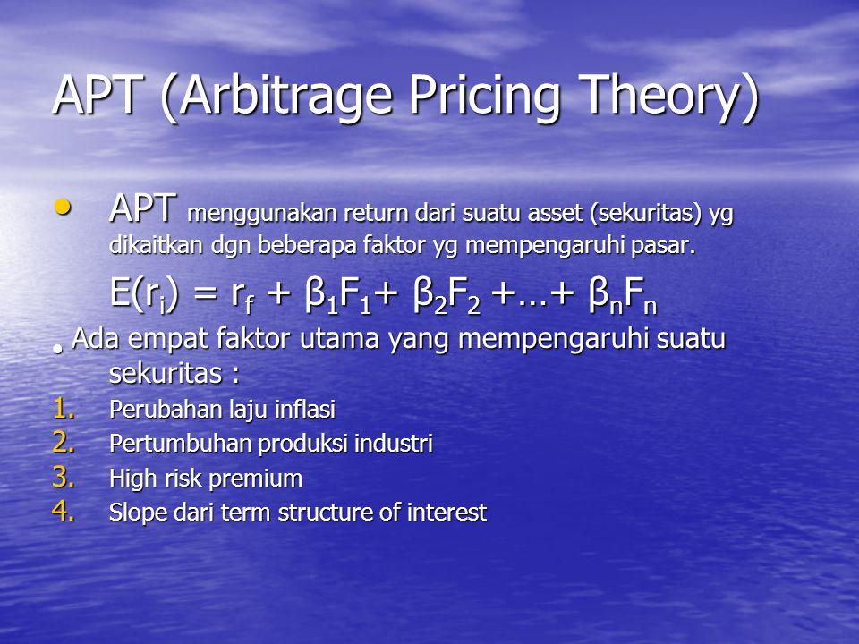 APT (Arbitrage Pricing Theory) APT menggunakan return dari suatu asset (sekuritas) yg dikaitkan dgn beberapa faktor yg mempengaruhi pasar. APT menggun