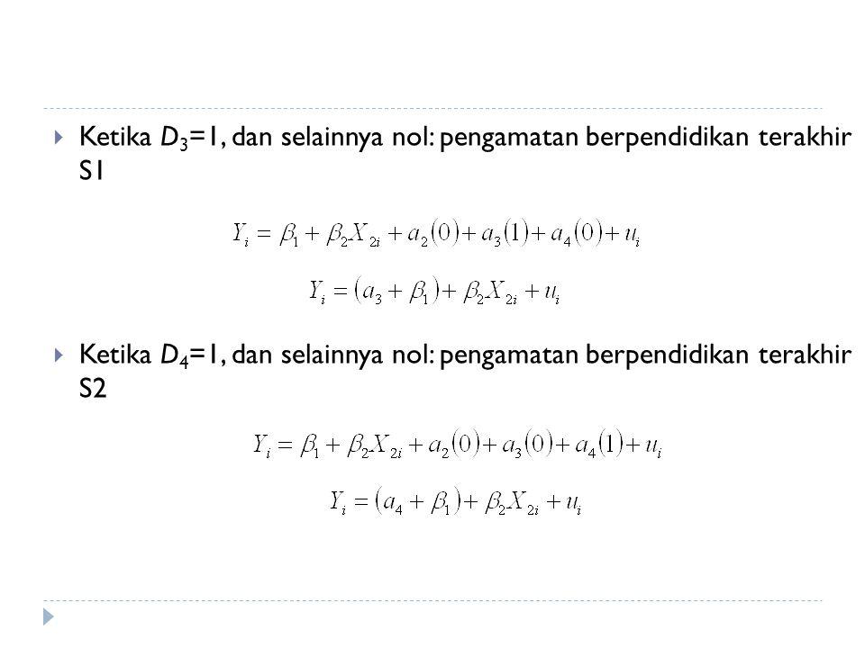  Ketika D 3 =1, dan selainnya nol: pengamatan berpendidikan terakhir S1  Ketika D 4 =1, dan selainnya nol: pengamatan berpendidikan terakhir S2