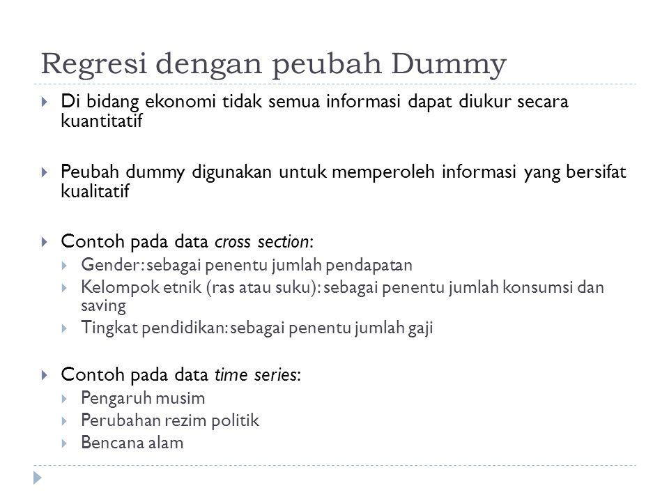Regresi dengan peubah Dummy  Di bidang ekonomi tidak semua informasi dapat diukur secara kuantitatif  Peubah dummy digunakan untuk memperoleh inform