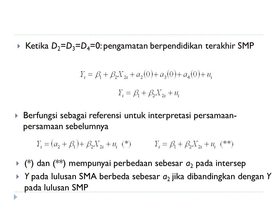  Ketika D 2 =D 3 =D 4 =0: pengamatan berpendidikan terakhir SMP  Berfungsi sebagai referensi untuk interpretasi persamaan- persamaan sebelumnya  (*