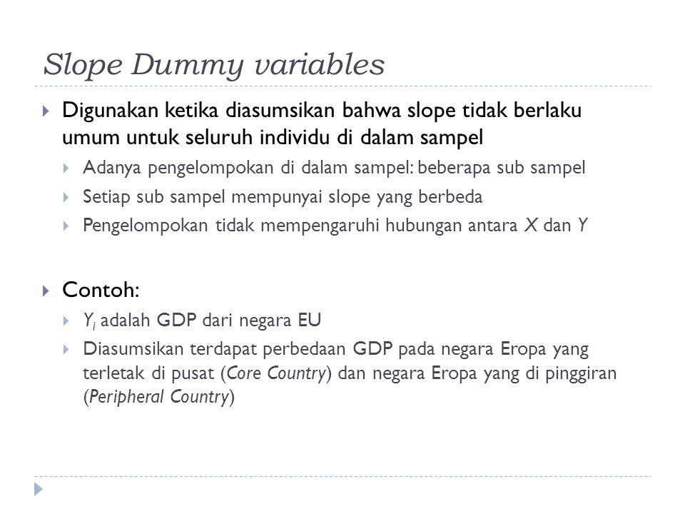 Slope Dummy variables  Digunakan ketika diasumsikan bahwa slope tidak berlaku umum untuk seluruh individu di dalam sampel  Adanya pengelompokan di d